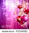 Valentine's Day Flyer with a glitter vintage background, and glossy red hearts flying over the air. - stock vector