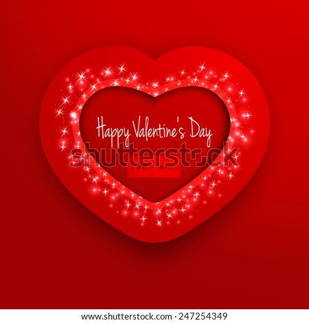 Valentine's day frame on a red background. Greeting card. Vector EPS10.