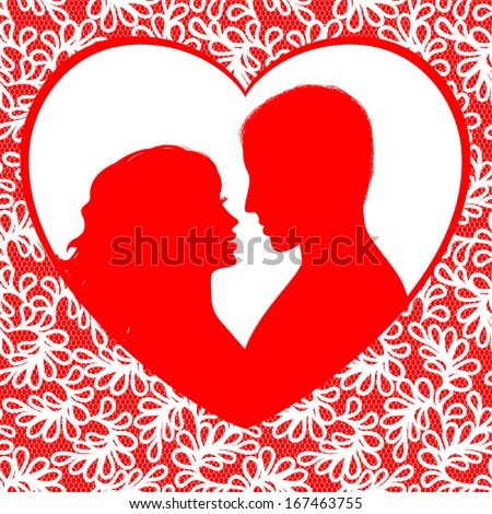 Valentine's day frame with hearts and silhouette a happy couple