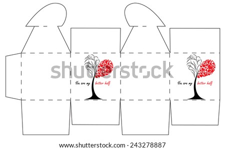 Valentines day gift box template cube stock vector 243278887 valentines day gift box template cube box with heart on the top pronofoot35fo Image collections