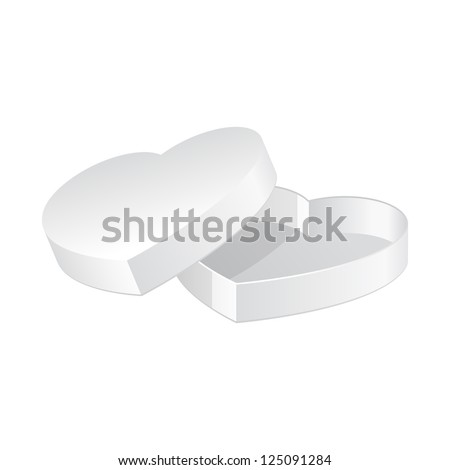 Valentine's Day Gift Candy Box With Lid Like Heart Isolated On White Background. Vector EPS10
