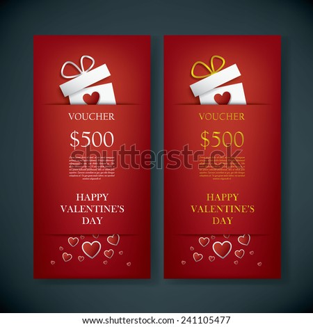 valentines day gift card voucher template stock vector 241105477, Ideas