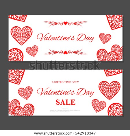 Valentines day gift coupon gift voucher stock vector 542918347 valentines day gift coupon gift voucher template with red hearts two side of discount yadclub Choice Image