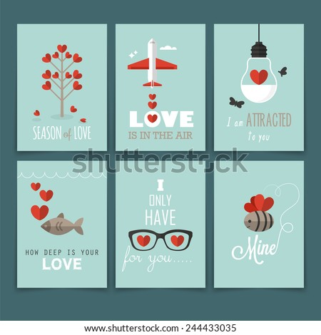 Valentine's day greeting card design in flat modern style - stock vector