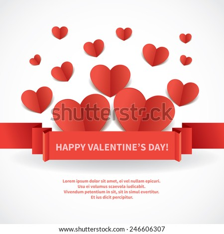 Valentines day greeting card party invitation stock vector 2018 valentines day greeting card or party invitation design with many origami hearts and ribbon on white m4hsunfo