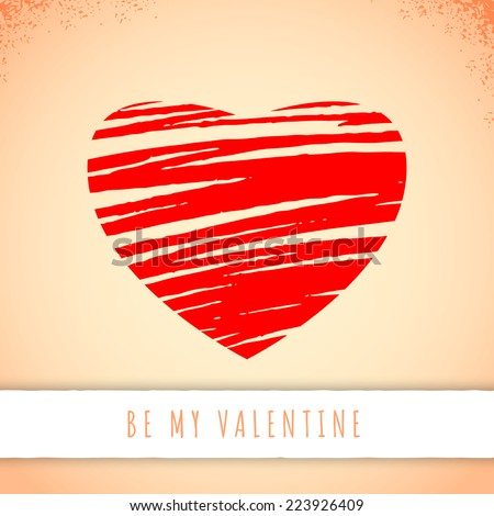 "Valentine's day greeting card, red hand drawn heart on old paper background with sign ""Be my Valentine"" - stock vector"