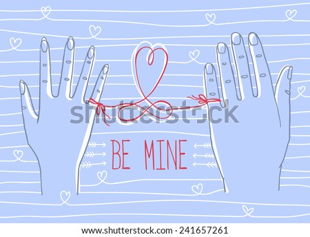 """Valentine's Day greeting card. Simple outline drawing of two hands, male and female, connected by the red string of fate with words """"Be mine"""" , heart and eternity signs. - stock vector"""