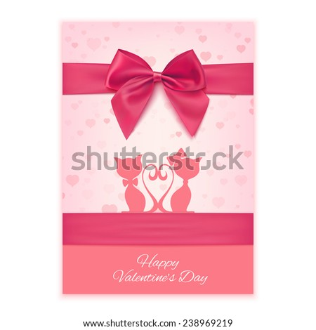 Valentine's Day greeting card template with two cats, rose bow and ribbon. Invitation. Vector illustration - stock vector