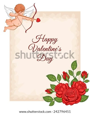 Valentine's Day greeting card with a cupid and red roses. - stock vector