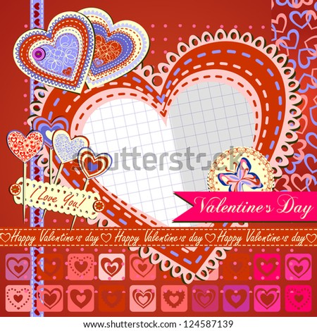 Valentine's Day Greeting Card with Composite Heart, Vector Version - stock vector