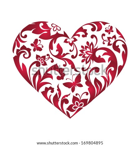 Valentine's day greeting card with floral heart shape isolated on white, editable vector clip art design - stock vector