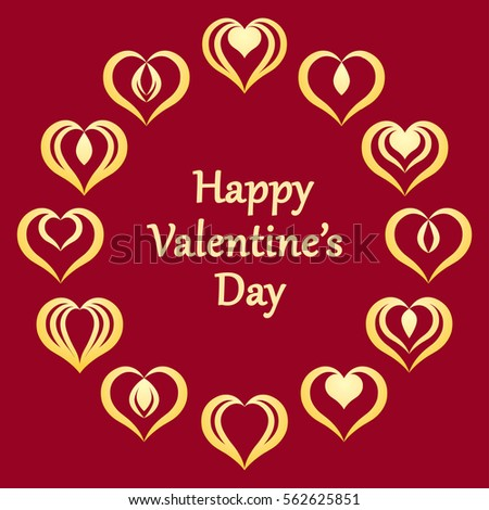 valentines day greeting card with gold heart signs arranged in a circle on red background