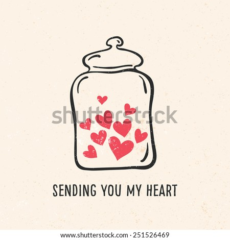 Valentine's day greeting card with heart, jar, lettering and other decorative elements. Vector hand drawn illustration. - stock vector