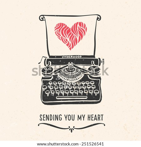 Valentine's day greeting card with lettering, typewriter, heart and other decorative elements. Vector hand drawn illustration. - stock vector