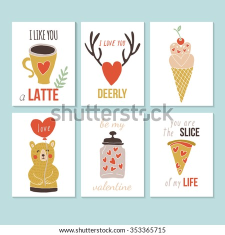 Valentine's day hand drawing greeting card set. Isolated vector illustration