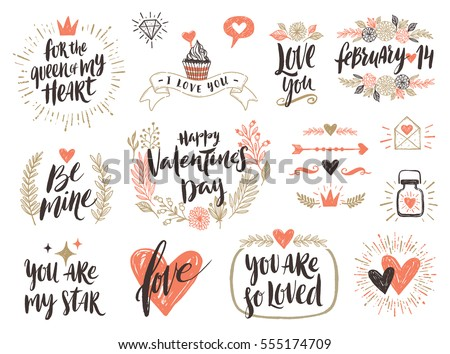 Valentine's day hand drawn calligraphy and illustration vector set