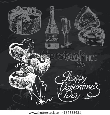 Valentine's Day hand drawn chalkboard design set. Black chalk texture - stock vector