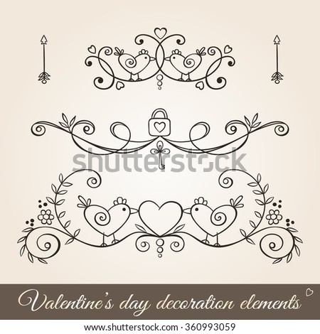 Valentine's day hand drawn decoration set in vintage style.Borders, page dividers,and ornaments for greeting cards, stationary, gift tags, scrapbooking, wedding, invitations.Floral design with birds. - stock vector