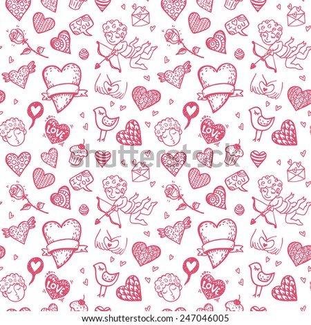 Valentine`s day hand drawn doodle background.