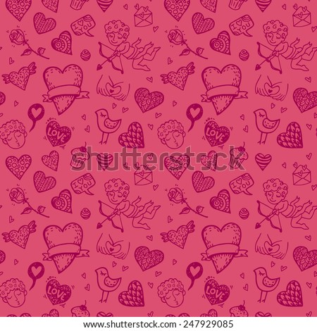 Valentine`s day hand drawn doodle background. - stock vector