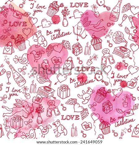 Valentine's day hand drawn doodle background with hearts, angel and different other love symbols, vector seamless pattern. Watercolor hearts