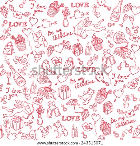 Valentine's day  hand drawn doodle background with hearts, angel and different other love symbols, vector seamless pattern