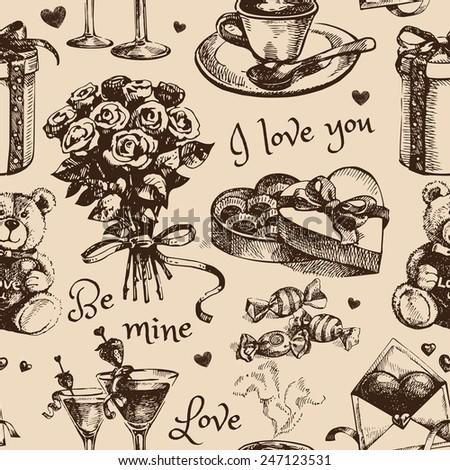 Valentine's Day Hand drawn sketch vector illustration. Vintage love  seamless pattern - stock vector