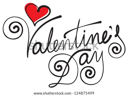 VALENTINE'S DAY hand lettering (eps8) - stock vector