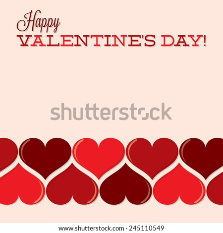 Valentine's Day heart line card in vector format. - stock vector