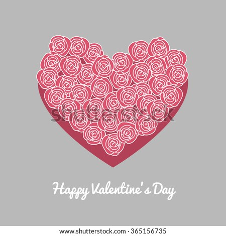 Red Valentine Heart Floral Style Isolated Stock Vector 82658218 ...
