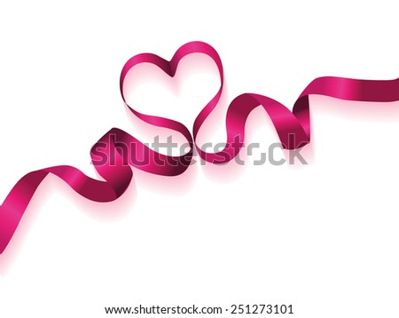 Valentine's day heart ribbon pink - stock vector