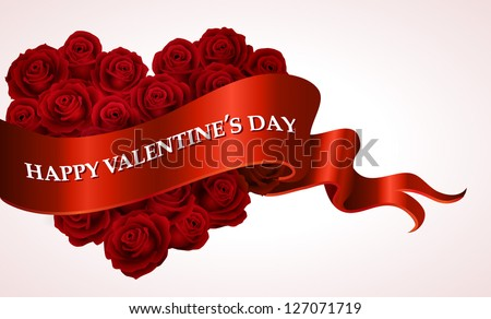 Valentine`s Day heart-shaped bouquet with scroll banner - vector illustration.