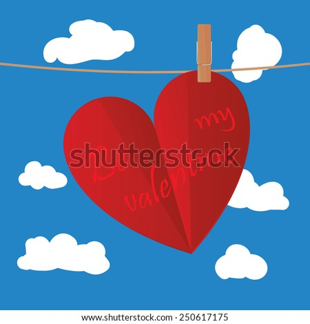 Valentine's day heart-shaped card clipped on rope on blue sky with clouds - stock vector