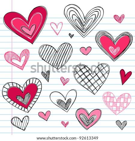 Valentine's Day Hearts / Love Sketchy Notebook Doodles Design Elements on Lined Sketchbook Paper Background- Vector Illustration - stock vector