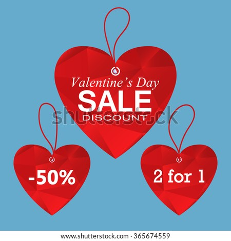 Valentine's day hearts sale tag, poster template. Red polygonal hearts, isolated on blue background. Vector EPS10 - stock vector