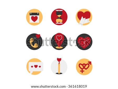 Valentine`s Day icon set - stock vector