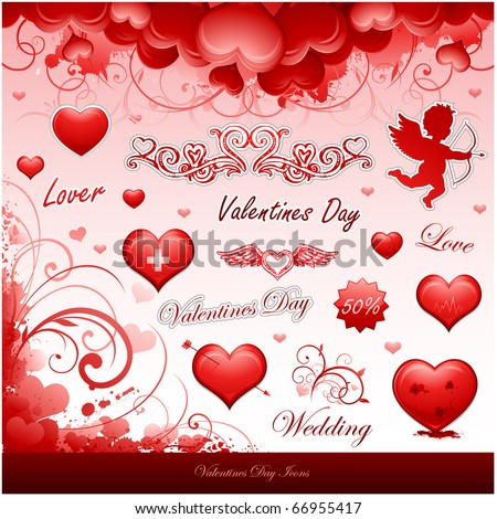 Valentine's day icons collection items vector illustration - stock vector