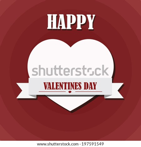 Valentine`s day  illustration  over red background. Vector