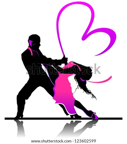 Valentine's day illustration with beautiful dancing couple - stock vector