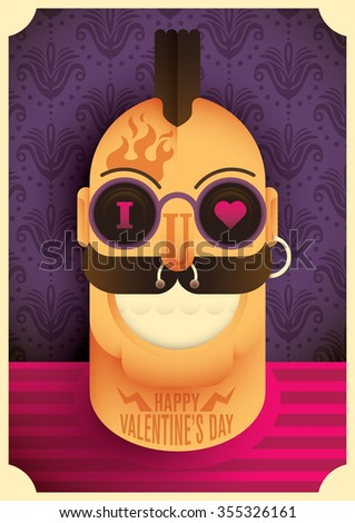 Valentine's day illustration with comic guy. Vector illustration - stock vector
