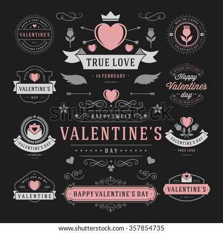 Valentine's Day Labels and Cards Set, Heart Icons Symbols, Greetings Cards, Silhouettes, Retro Typography Vector Design Elements. Valentines day cards, Valentines Badges, Valentines Day Vector Labels. - stock vector