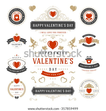 Valentine's Day Labels and Cards Set, Heart Icons Symbols, Greetings Cards, Silhouettes, Retro Typography Vector Design Elements. Valentines day cards, Valentines Badges, Valentines Day Vector Labels.
