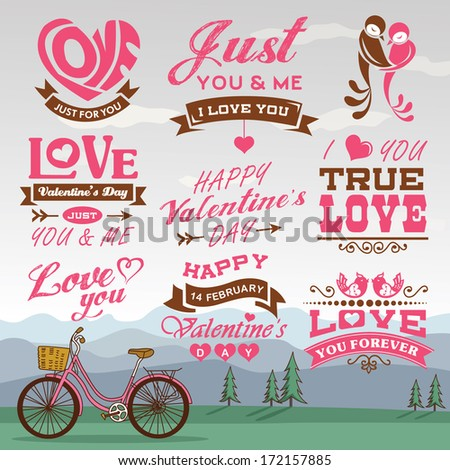 Valentine's day labels, icons elements collection with romantic background 01 - stock vector