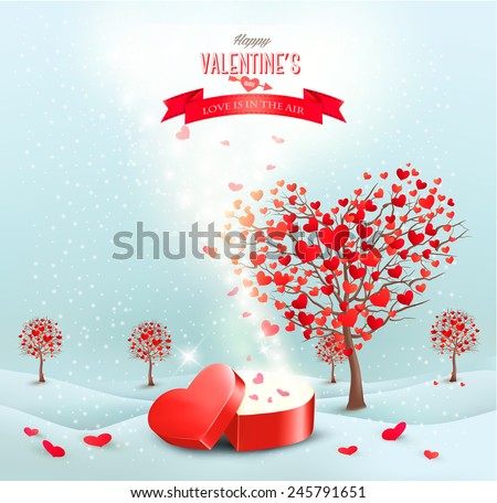 Valentine's day landscape with heart shaped trees and a magic gift box. Vector. - stock vector