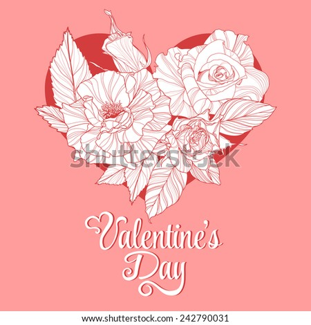Valentine's Day lettering Greeting Card on pink background, vector illustration with roses - stock vector
