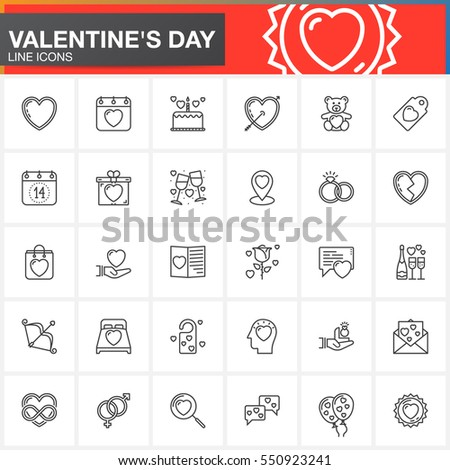Valentine's Day line icons set, outline vector symbol collection, linear pictogram pack isolated on white. Love signs, logo illustration
