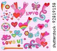 Valentine's Day Love and Hearts Psychedelic Groovy Notebook Doodle Design Elements Set on Pink Lined Sketchbook Paper Background- Vector Illustration - stock photo