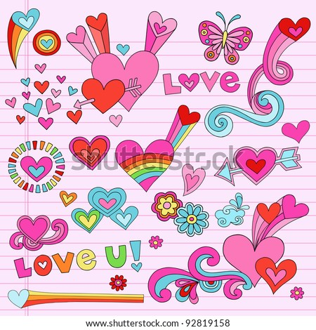 Valentine's Day Love and Hearts Psychedelic Groovy Notebook Doodle Design Elements Set on Pink Lined Sketchbook Paper Background- Vector Illustration - stock vector