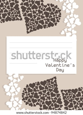Valentine's day love card with blank note paper. Vector illustration