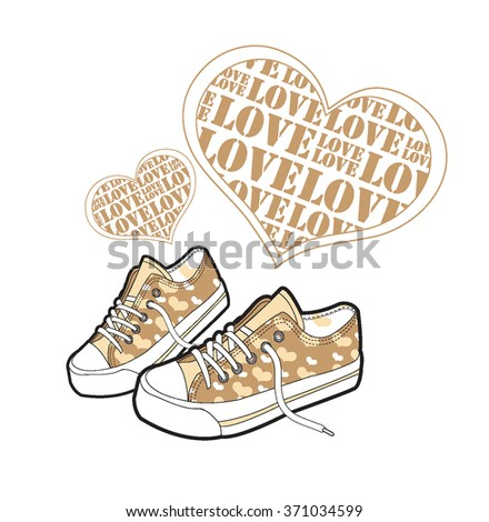 Valentine's Day love concept with sneakers. Shoes and  shoes vector material. illustration - stock vector